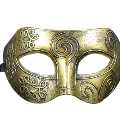Respctful Halloween Masquerade for Men, Fashion Half Face Costume Mask for Party (Gold) -