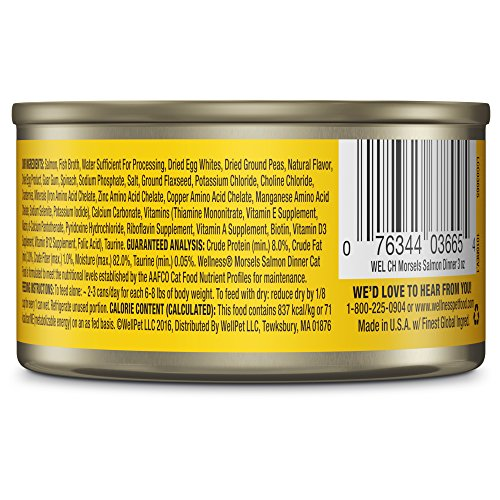 076344026655 - Wellness Natural Grain Free Wet Canned Cat Food, Morsels Salmon Dinner, 3-Ounce Can (Pack of 24) carousel main 4