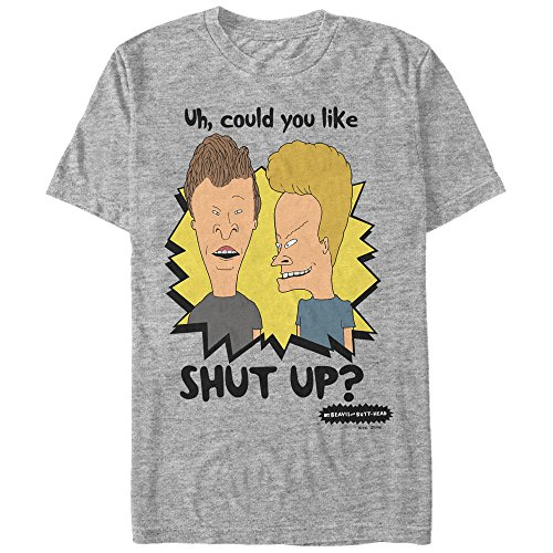 Beavis and Butt-Head Men's Could You Like Shut Up Athletic Heather T-Shirt (Best Beavis And Butthead Episodes)