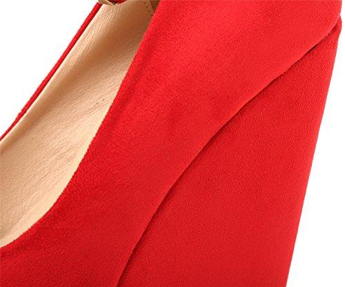 Chaussures Compensé Femme Fermées AgeeMi Rouge Talon Escarpin Femme Compensées Classique Plateforme Shoes 8gWWwOqf