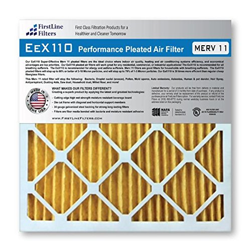 FirstLine Filters 16x25x4 MERV 11 Pleated AC Furnance Air Filter, Box of 2