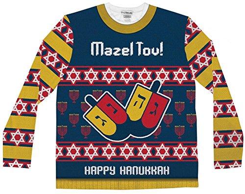 Faux Real Men's Mazel Tov Ugly Hanukkah Sweater Long Sleeve T-Shirt, Multi, Medium