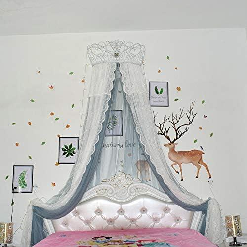 レースベッドキャノピー,皇太子妃 ダブル カラー ベッド カーテン 装飾的なドレープメタルクラウンと寝室のためのライトと裁判所の蚊帳-n