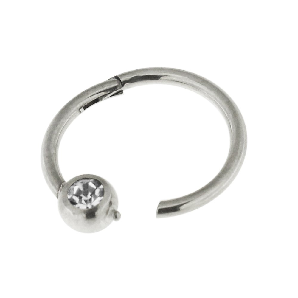 AtoZ Piercing 16 Gauge 316L Surgical Steel Crystal Stone Ball BCR Hinged Segment Nose Ring Jewelry