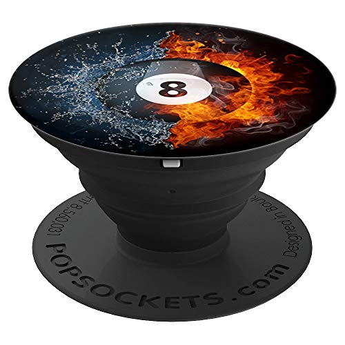 (Flaming Fire 8 Ball Pool Billiards Ball - PopSockets Grip and Stand for Phones and Tablets)