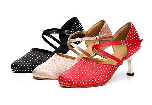 de nbsp;pour Salsa Cristaux latine femme danse Qj705 de satiné Chaussures Sparkle danse Minitoo moderne Rouge Red Tango piste vw4Rx0qn