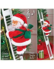 Atezch Christmas Decoration Doll, Climbing Ladder Santa Claus Toy Battery Operated Music Doll Xmas Tree Hanging Ornaments Accessories Gift for Kids