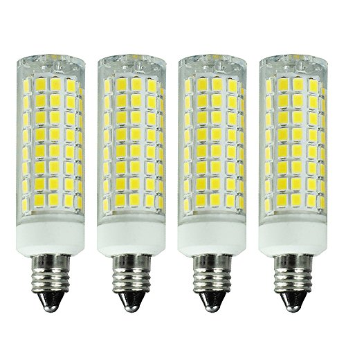E11 led bulb 150W 100W 75W Equivalent Halogen Replacement Lights, Dimmable, Mini Candelabra Base, 1000 Lumens Daylight 6000K, AC110V/120V/130V, Replaces T4/T3 JD Type clear e11 light bulb, 4-Pack