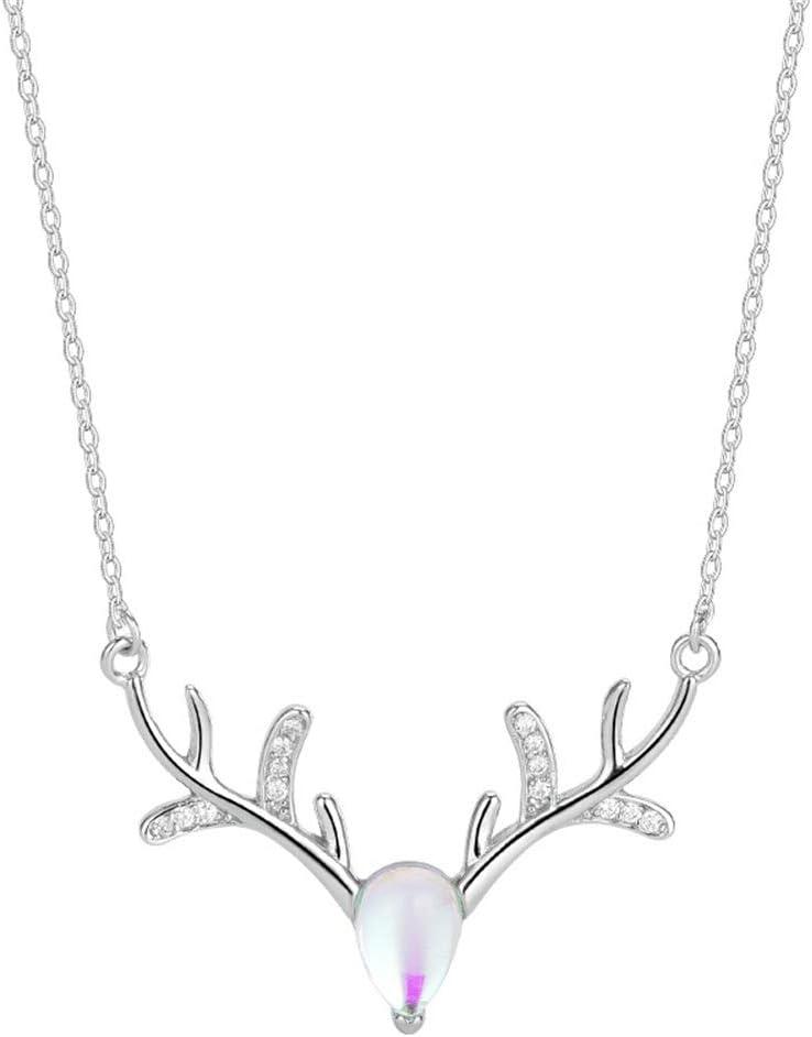 New Fashion 925 Sterling Silver Moonstone Elk Antlers Deer Collier Pendentif
