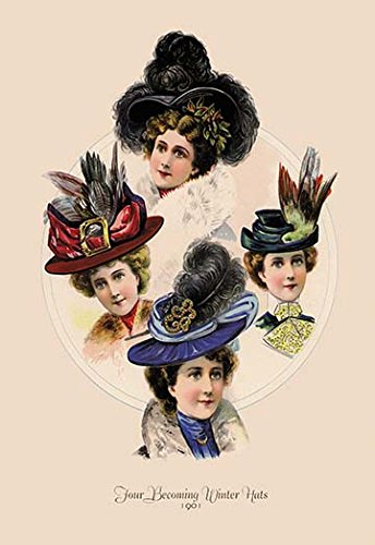 Buyenlarge 0-587-13405-4-P1827 Four Becoming Winter Hats Paper Poster, 18
