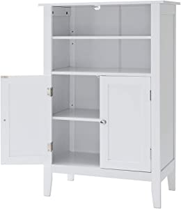IWELL Bathroom Floor Cabinet with 2 Adjustable Shelf & 6 Heights Available, Storage Cabinet with 2 Doors, Modern Bookcase for Decorations, in Living Room Office, YSG004B