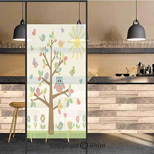 3D Decorative Privacy Window Films,Colorful Tree with Cute Owl and Birds Sunny Summer Day in the Park Theme Cartoon Decorative,No-Glue Self Static Cling Glass film for Home Bedroom Bathroom Kitchen Of