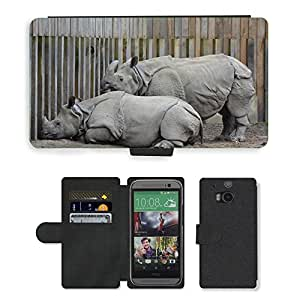Hot Style Cell Phone Card Slot PU Leather Wallet Case // M00109050 Rhino Animal Rhinoceros Mammal // HTC One M8