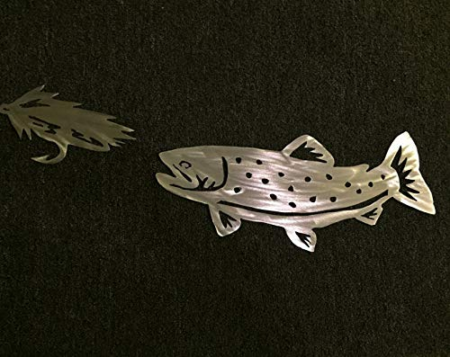 Two-Piece Metal Wall Art Set Trout and Fly Fish Bait Fishing Lodge Decor Fisherman Artwork Gift Idea