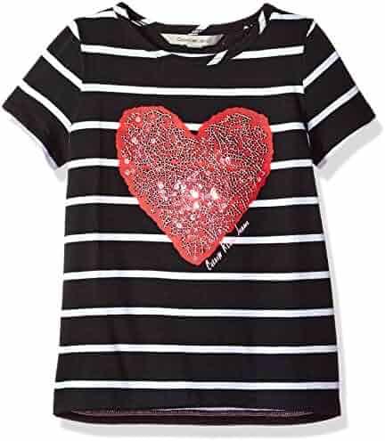 Calvin Klein Girls' Sequin Heart Tee