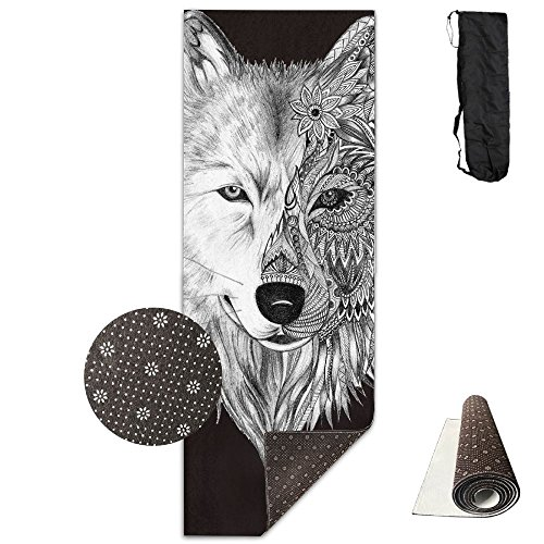Non Slip Yoga Mat Big Wolf Head Premium Printed 24 X 71 Inches Great For Exercise Pilates Gymnastics Carrying Strap