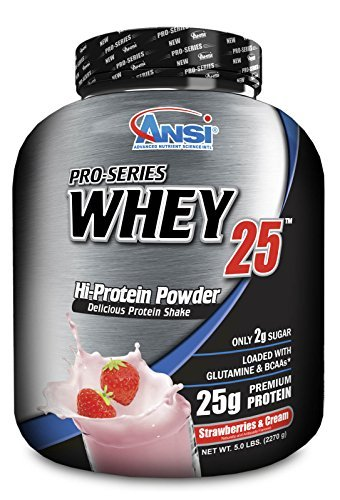 ANSI - Pro-Series Whey Protein Isolate 25, 5lb (2270g) (Strawberry) by Advance Nutrient Science (Strawberry Pro Series)