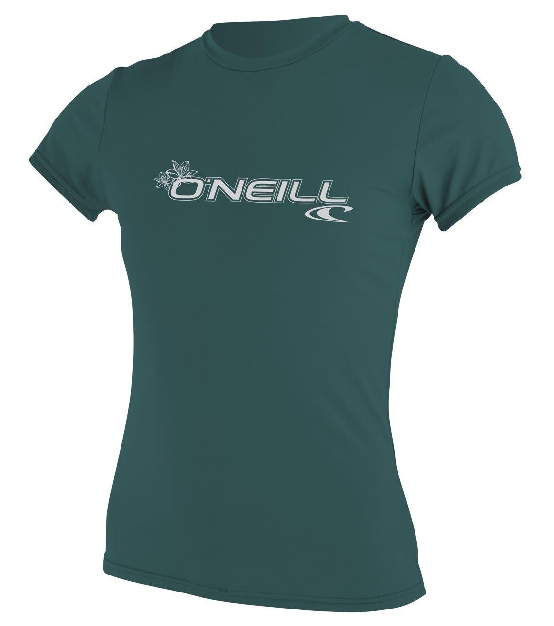 O'Neill Wetsuits Women's Basic Skins Upf 50+ Short Sleeve Sun Shirt, Deep Teal, X-Small