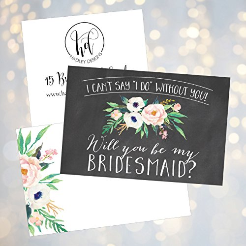 15 Will You Be My Bridesmaid Cards Chalkboard, I Can't Say I Do Without You, Rustic Proposal Note For Gifts, Blank Chalk Ask To Be Your Bridesmaids Invitations Set, Asking A Bridesmaid Invite Photo #4