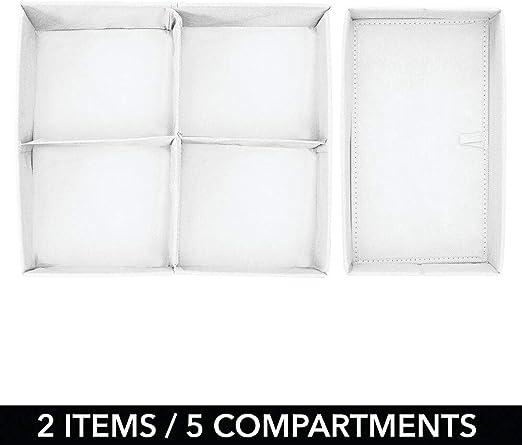 flexibel verwendbare Stoffbox in 4 Gr/ö/ßen mDesign 5er-Set Kleiderschrank Organizer helllila und wei/ß die ideale Aufbewahrungskiste f/ür das Kinderzimmer mit mehreren F/ächern