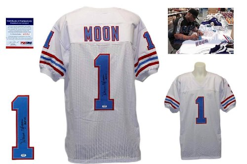 (Warren Moon Signed Custom Jersey - PSA/DNA - Autographed w/ Photo - White)