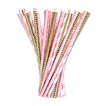eBoot Paper Straws Drinking Decoration Straw for Birthday, Wedding, Baby Shower, Celebration Parties, Gold and Pink, 100 Pack