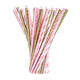 eBoot Paper Straws Drinking Decoration Straw for Birthday, Wedding, Christmas, Celebration Parties, 100 Pieces (Gold and Pink)