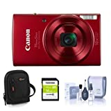 Canon PowerShot ELPH 190 IS 20MP Digital Camera, Red – Bundle with 16GB Class 10 SDHC Card, Camera Case, Cleaning Kit
