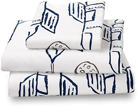 [해외]BoysDesignSheets / Where The Polka Dots Roam Twin Navy RocketPlanes Print Bed Sheet Set for Kids Bedding