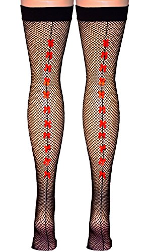 (Vanea Women's Fishnet Thigh Highs With Satin Baby Bows Up The Back Seam (Black/Red))