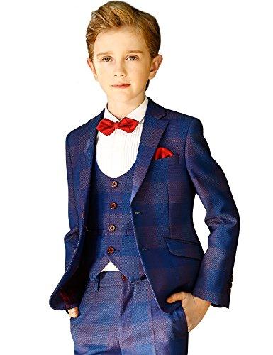 ELPA ELPA Children Boys Suits London Boys 6 Piece Casual Classic Plaid Suits(Royal Blue,10)