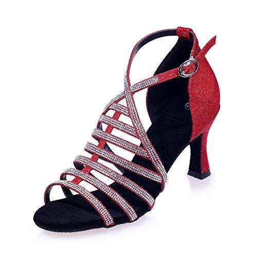 Satin Of 7 5 With L Dance Cm Red Women YC Height Fine Heel Latin Ballroom Waist Shoes z67OYw6q