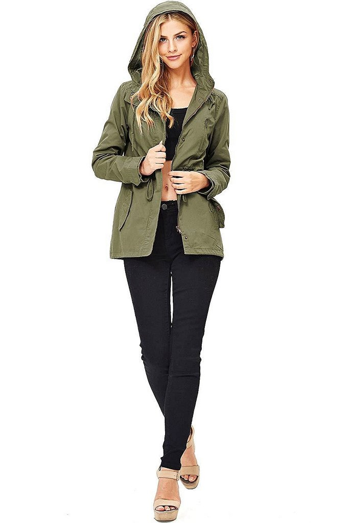 Ambiance Pink Ice Women's Cargo Style Hoodie Jacket Olive Small Olive Small