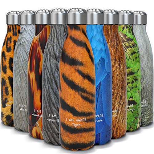 Tadge Goods Insulated Stainless Steel Water Bottle - Endangered Species Edition - Metal Thermo Style Bottles Great for Sports, Gym, Kids - Keeps Drinks Hot & Cold - 12 Oz