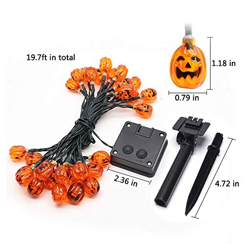 Solar String Lights Yostyle Newest Halloween Themed Waterproof Lights 3D Jack-O-Lantern Pumpkins for Home Patio Garden Yard Decoration Outdoor&Indoor(20FT 30LEDS Warm White)