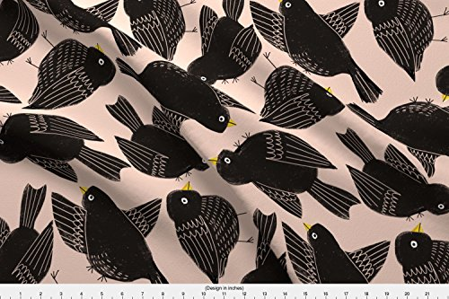 Avian Naturals - Spoonflower birds Fabric Animals Nature Avian Natural Bird Watching Kids Animal Lovers Watchers Block Print Hand by Anda Printed on Cotton Poplin Ultra Fabric by the Yard by