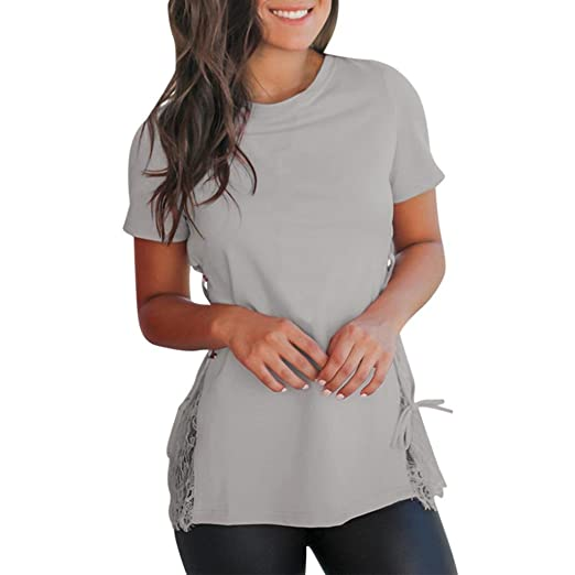 f0e97cad527570 Maonet Women Adjustable Self Tie Lace Bottom O-Neck T-Shirt Tops Blouse  Solid Tees at Amazon Women's Clothing store: