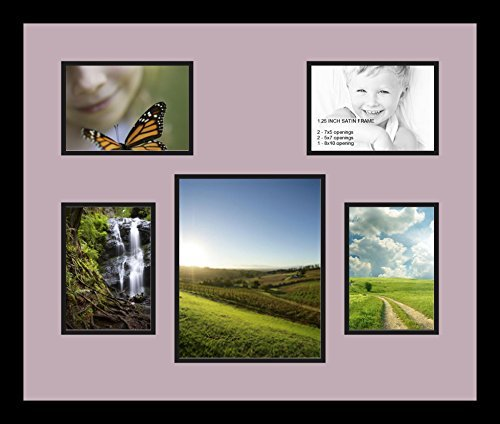 Art to Frames Double-Multimat-770-805/89-FRBW26079 Collage Photo Frame Double Mat with 1-8x10 and 4-5x7 Openings and Satin Black Frame