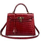 Ainifeel Women's Padlock Crocodile Embossed Patent Leather Shoulder Handbags (28cm, Claret red)