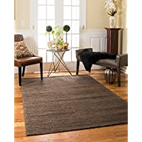 NaturalAreaRugs Delhi Collection Jute/Hemp Area Rug, Handmade, 100% Hemp, Cotton Backing, Durable, Elegant, Stain Resistant, Eco/Environment-Friendly, (8 Feet x 10 Feet) Brown Color