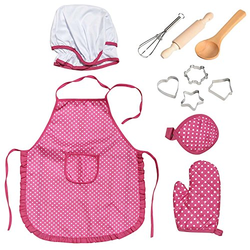 kids chef set children cooking play girls apron with hat mitt and cookie for 699966860355 ebay. Black Bedroom Furniture Sets. Home Design Ideas