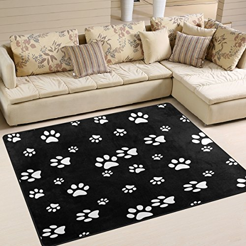 ALAZA White Black Paw Print Area Rug Rugs for Living Room Bedroom 5'3 x 4' (Paw Rug Print)