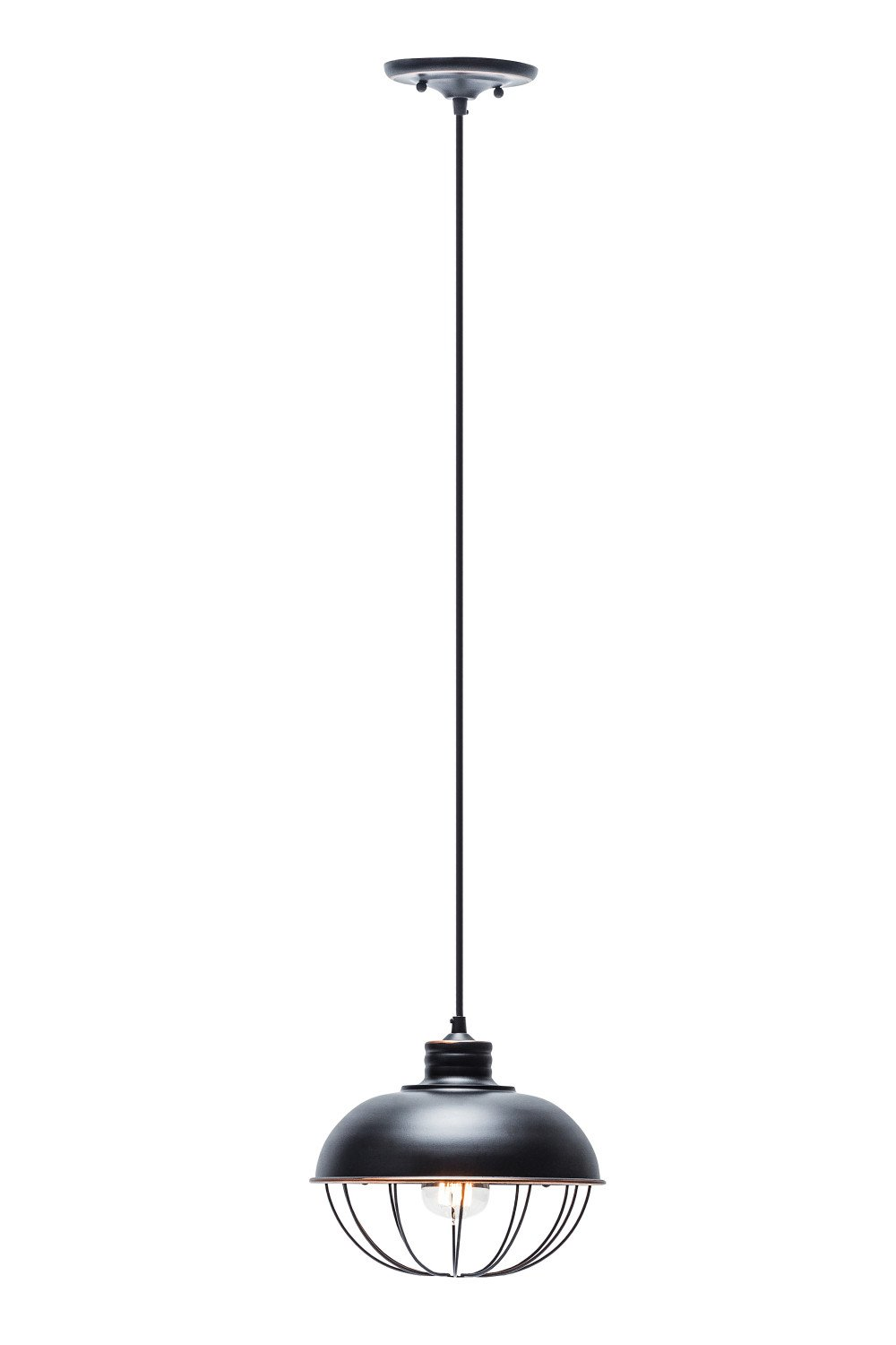 Globe Electric 10'' Vintage Half Cage Hanging Pendant, Oil Rubbed Bronze Finish, Black Cord, 1x A19 60W Bulb (sold separately), 64833