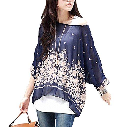 shirt blouse soie bohme Bleu Mode Fleurs Minetome mousseline Femmes hippie Marine ample manches de Encolure en Batwing 6vzgqzwx