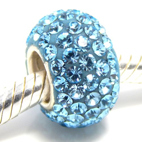 Pro Jewelry 925 Sterling Silver Birthstone March Aquamarine Light Blue Bead Charm for Snake Crystal Spacer Bead