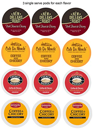 New Orleans Coffee & Chicory Sampler Single Serve Cups Variety Box, 12 -