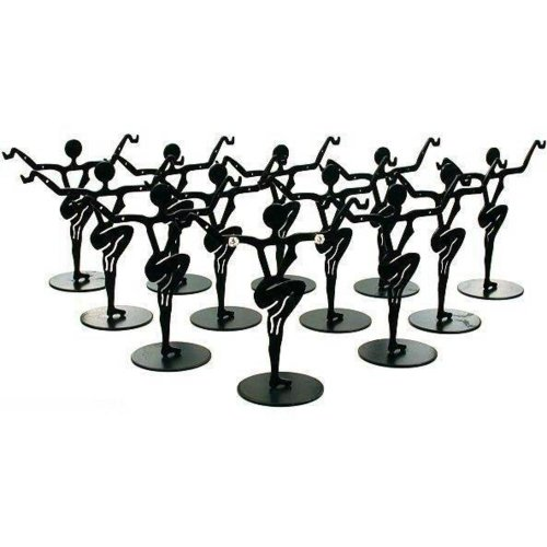 12 Black Metal Earring Dancers Jewelry Showcase Display Stands 3.25