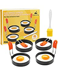 Meidong Egg Ring 4-Pack Stainless Steel Egg Ring with Anti-scald Handle with an Oil Brush Non Stick Coating Breakfast Tool for Eggs Frying/Shaping