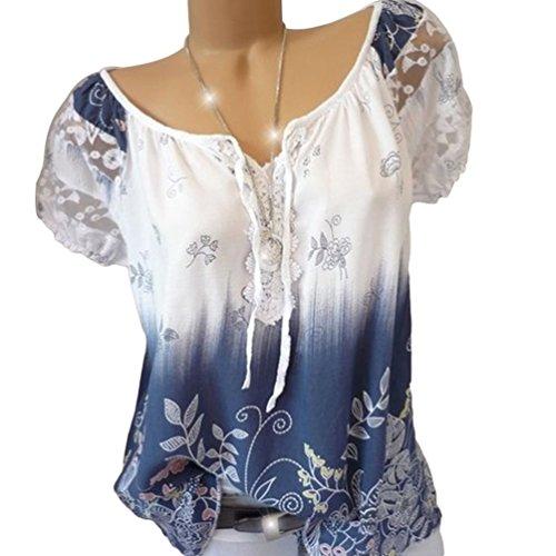 Blanc Casual La Rond Femme Courte Impression Blouse Lache Chemisier T Manche Lace Mode Col Shirt Ketamyy pWwZqB57q