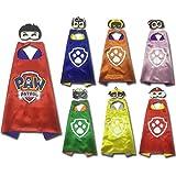 LansKids Comics Cartoon Paw Patrol Dress up Costumes 7 Satin Capes with Felt Masks 7pcs